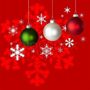 White, Red and Green Christmas Ornaments On Red & White ...