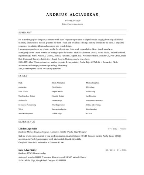 Animated Resume by Sle Resume Of Animation