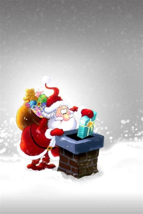 babbo natale mette regali nel camino festivita sfondi