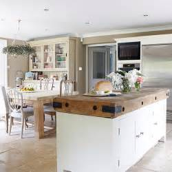 kitchen plan ideas open plan kitchen diner with butcher 39 s block unit open plan kitchen design ideas housetohome
