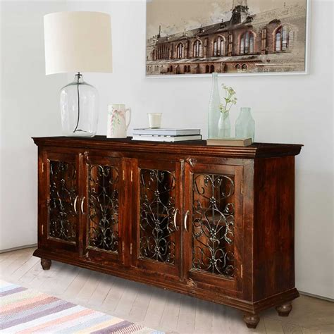 Large Buffet Cabinet by Italian Classic Mango Wood Iron Grille Door Large Buffet