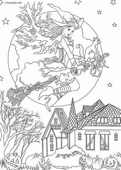 Coloring Pages Witch Halloween Adults Horror Colouring