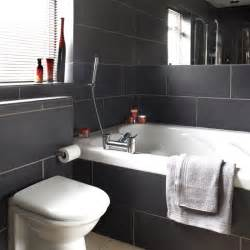 black tile bathroom ideas charcoal tiled bathroom black and white bathroom designs housetohome co uk