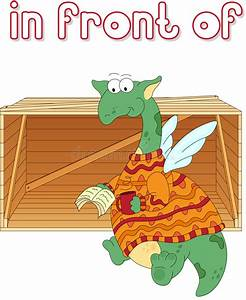Cartoon Dragon Reads A Book In Front Of The Box. English ...