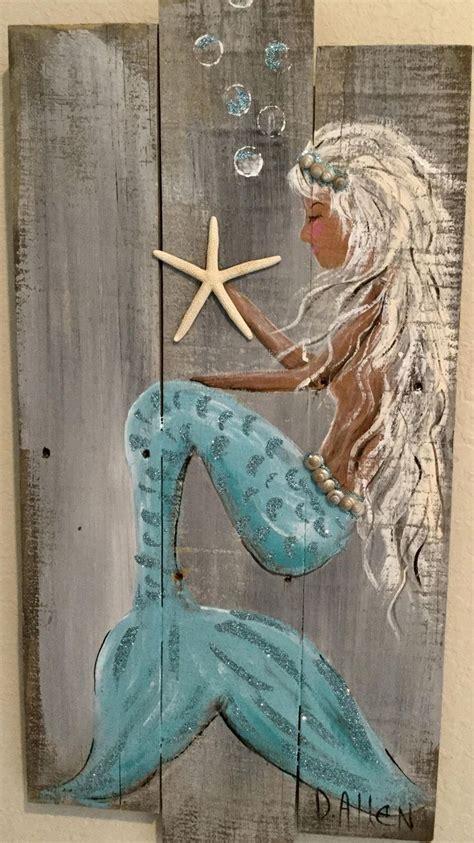 teal mermaid   recycle wood fence   mermaid