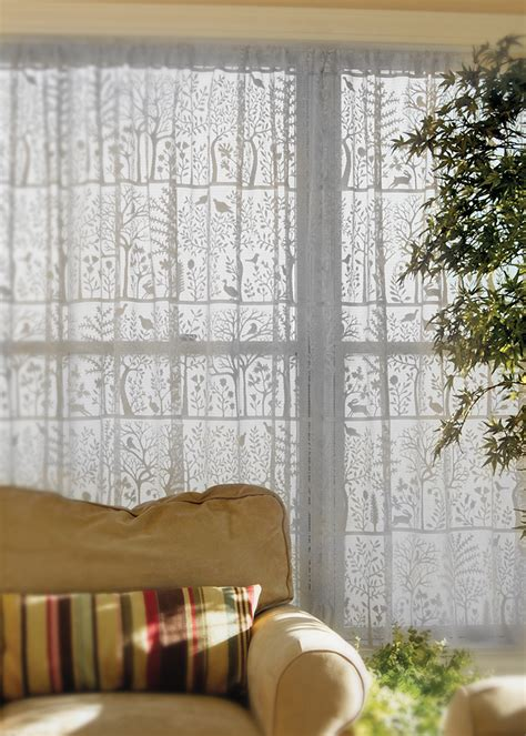 lace curtain panel tree  life  rabbit hollow