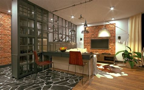 separate open kitchen   living room partition