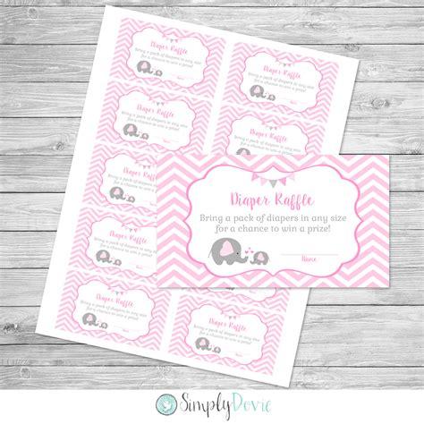 Girl Elephant Baby Shower Diaper Raffle Tickets