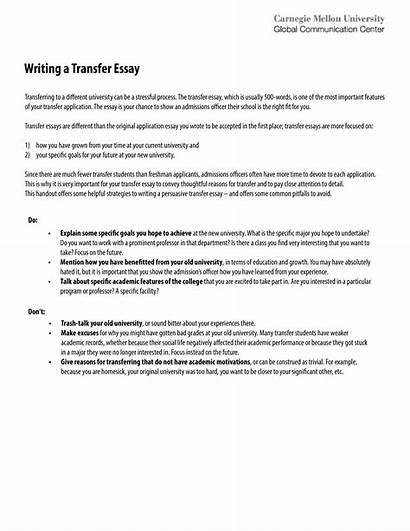 Transfer Essay College Sample Template Allbusinesstemplates
