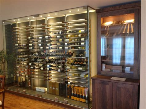 glass wine room   dining room  contemporary