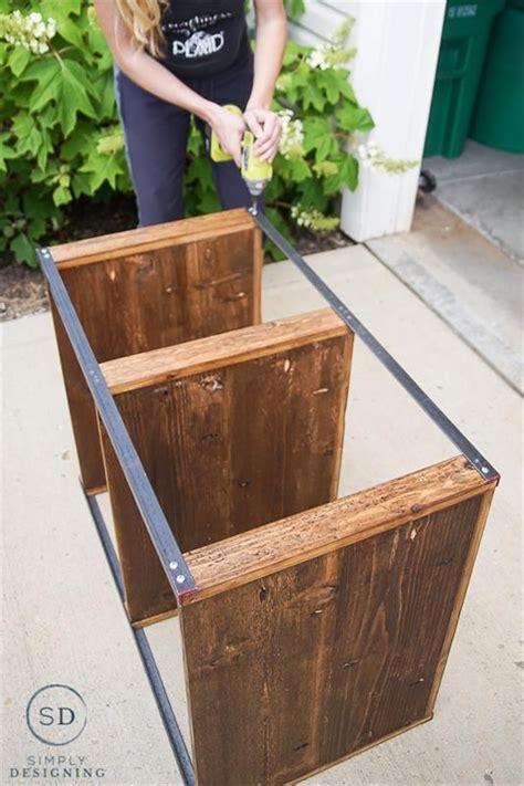 attach angle iron  shelves bookshelves diy diy wood