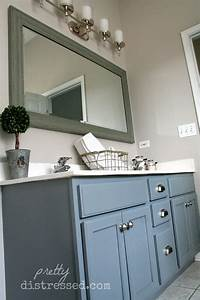 pretty distressed bathroom vanity makeover with latex paint With how to paint an old bathroom vanity