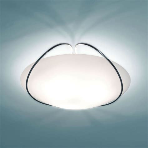 iris lighting ceiling lamp diffuser  blown white satin glass structure  chrome plated