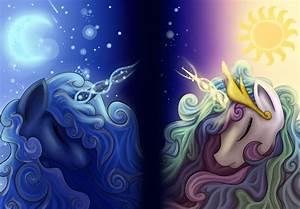 Princess Luna and Celestia - Wallpaper Version by Ellen124 ...