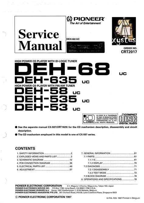 pioneer deh 53 58 68 535 635 crt2017 service manual