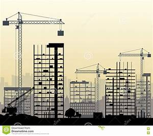 Construction Site With Buildings And Cranes Stock Vector ...