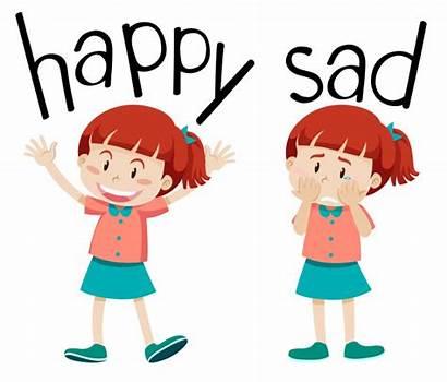 Sad Kid Vectors Happy Opposite Words Vector
