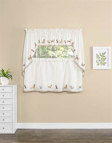 Dogs Embroidered Tier Pair, Swag Set & Insert Valance