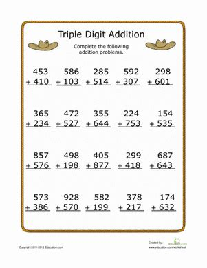3rd grade math adding worksheet digit addition worksheet education