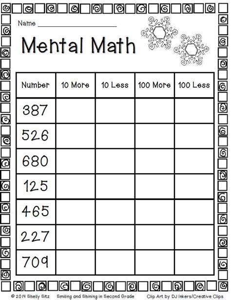 mental math for second grade freebie classroom ideas