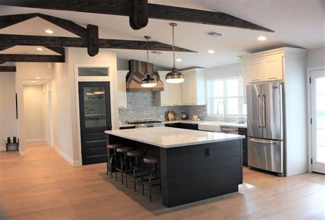 paneled kitchen cabinets modern farmhouse by rafterhouse black shiplap island 1409