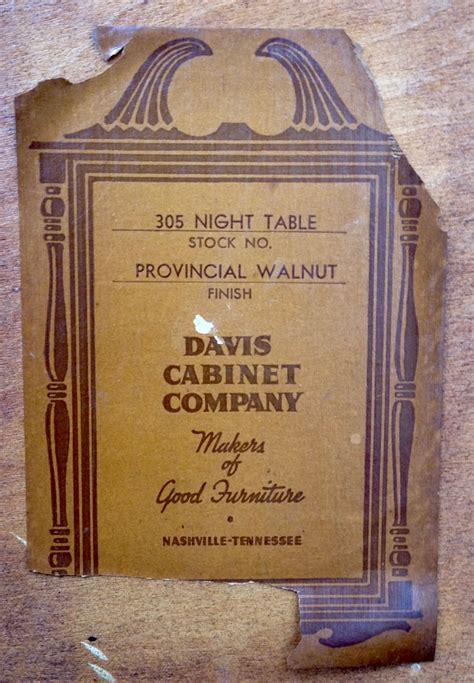 davis cabinet company  night table  antique