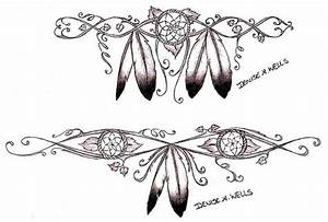 Two Outline Drawing of Eagle Feathers Tattoo Design by ...