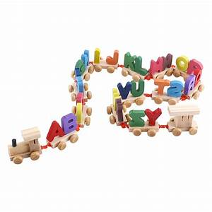 wooden train set alphabet wood letters with wheels kids With wooden train alphabet letters