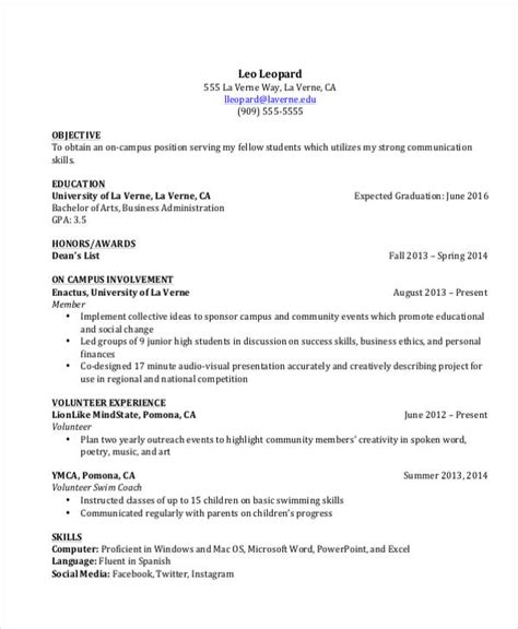 20605 college student resume template 2 10 student curriculum vitae template sle free