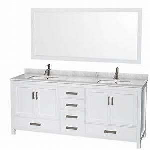 Sheffield 80 inch double sink bathroom vanity white finish for 50 inch double sink bathroom vanity