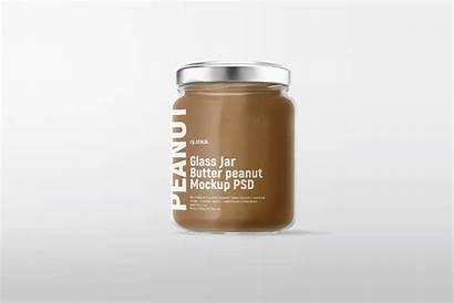 Jar Butter Glass Mockup Peanut Psd Behance