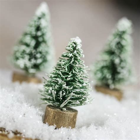 miniature frosted green bottle brush trees christmas miniatures christmas  winter