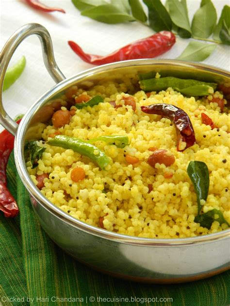 millet cuisine blend with spices korra biyyam chitrannam millet lemon bhath