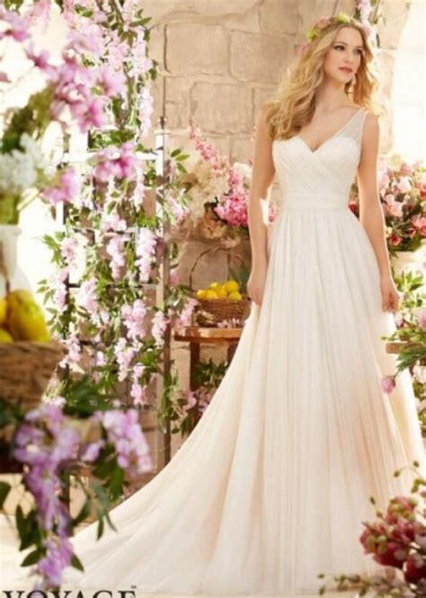 simple style a line garden wedding dresses v neck
