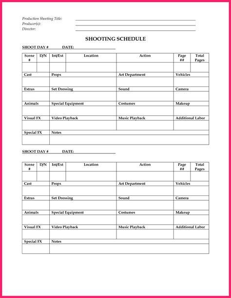 shooting schedule template schedule shooting schedule template