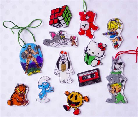 80s shrinky dink christmas ornaments chica and jo