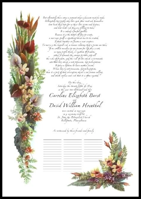 wedding certificates wedding vows poetry anniversary gifts