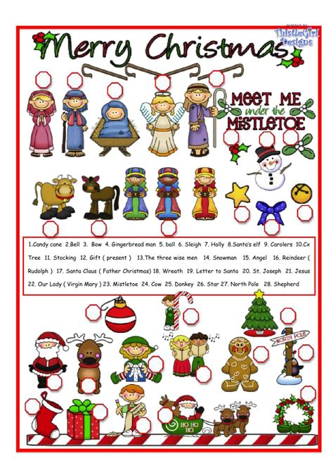 christmas pictionary christmas worksheet