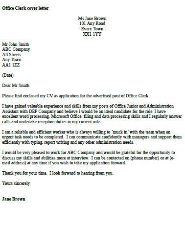 Cover Letter For Office Staff by Office Clerk Cover Letter Exle Icover Org Uk