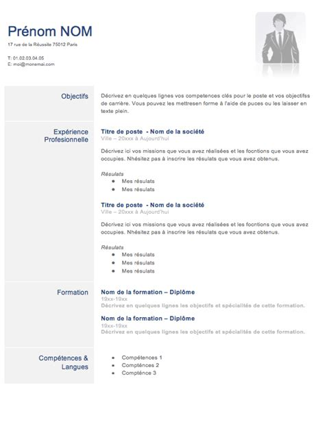 Modele Cv Facile by Modele Cv Facile Mod 232 Le De Cv Professionnel Gratuit Word