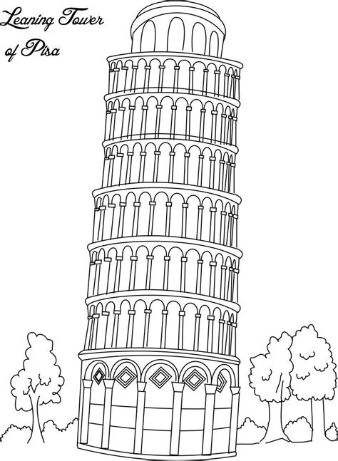 leaning tower  pisa coloring pages