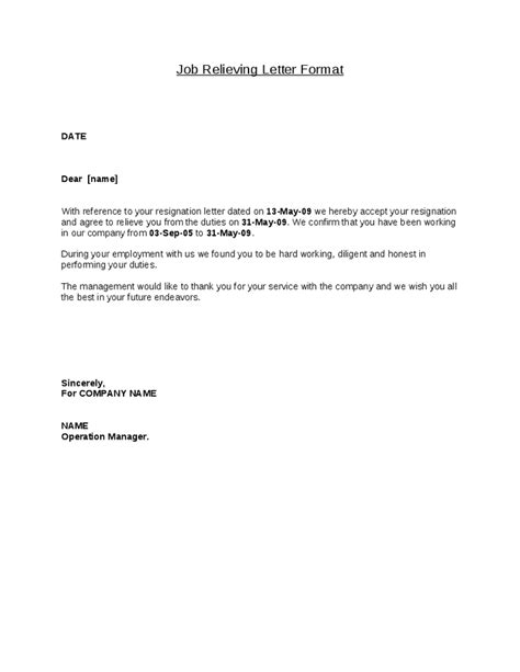 latest job relieving letter format places  visit