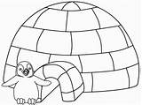 Igloo Coloring Winter Coloriage sketch template