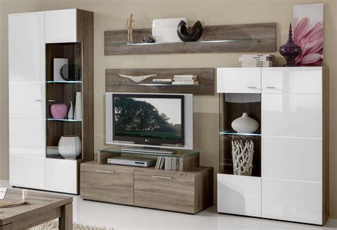 komplette wohnzimmer domina wohnwand modern eiche hochglanz weiss o braun individuell planb ebay