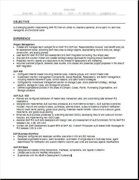 100 sap mm testing resume resume for sap abap fresher