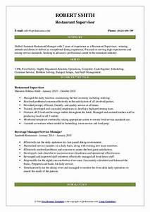Resume Example Food Service Restaurant Supervisor Resume Samples Qwikresume
