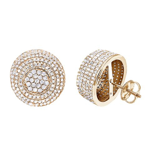 pave jewelry 14k gold studs pave diamond earrings 2 3ct