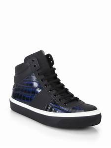 Jimmy choo Belgravi Croc-printed Leather High-top Sneakers ...