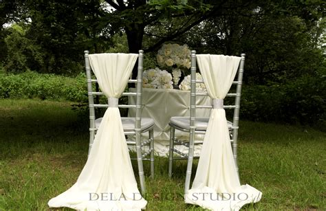 12 x wedding chiffon chair sash white ivory wedding