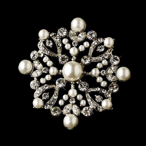 silver clear ivory pearl brooch discontinued